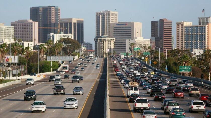 Traffic moving southbound on the I-5 toward downtown San Diego.