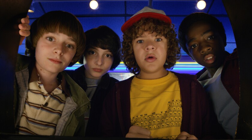 "Noah Schnapp (left), Finn Wolfhard, Gaten Matarazzo and Caleb McLaughlin star in ""Stranger Things,"" one of Netflix's many Emmy-nominated shows."