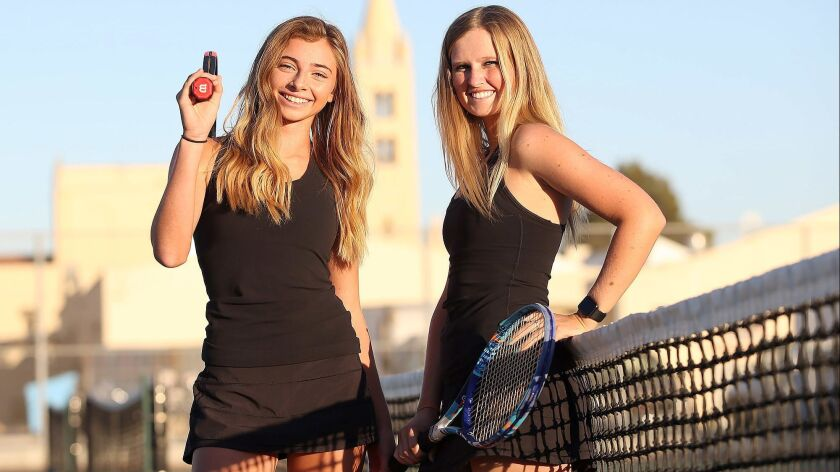 Daniella Pokorny and Emily Gray, from left, are the Daily Pilot High School Female Athletes of the W