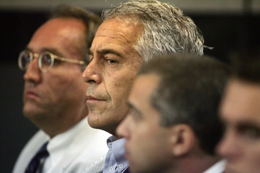 Jeffrey Epstein is shown in custody in West Palm Beach, Fla., in 2008.