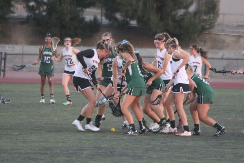 The La Jolla High School Vikings fought hard against the Coronado Islanders April 17.