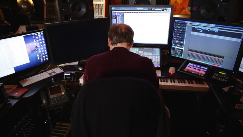"""Composer Hans Zimmer at work in the film """"Score: A Film Music Documentary."""""""