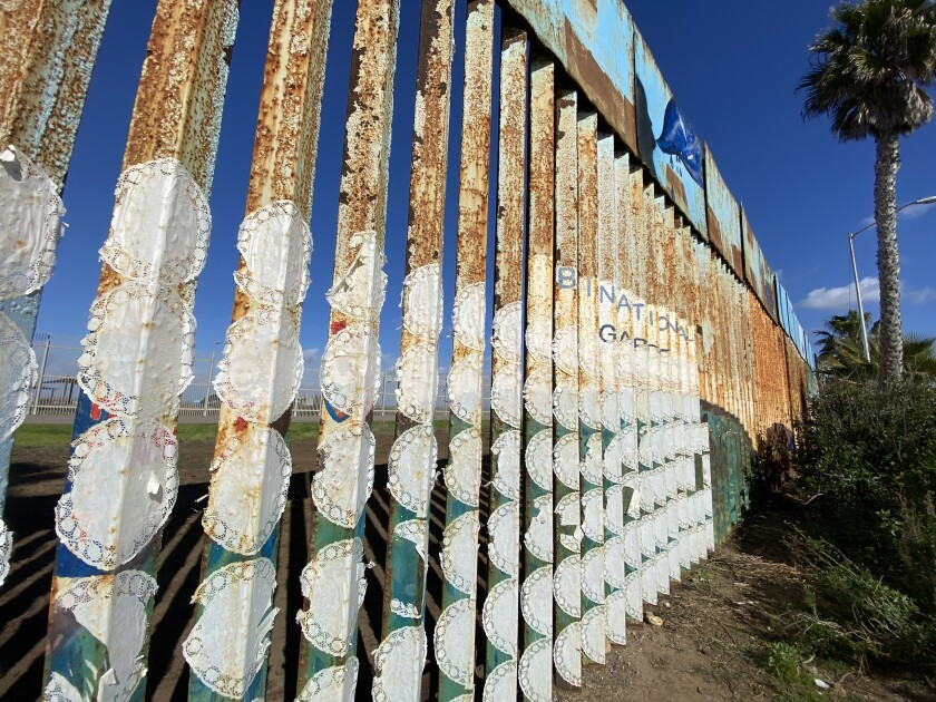 Photo taken from the Mexican side of the binational garden at San Diego-Tijuana border.