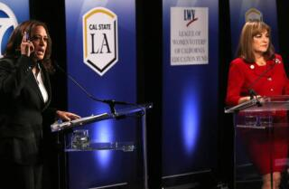 LA 90: Kamala Harris and Loretta Sanchez trade jabs over who will work harder in the Senate — oh, and Sanchez dabs