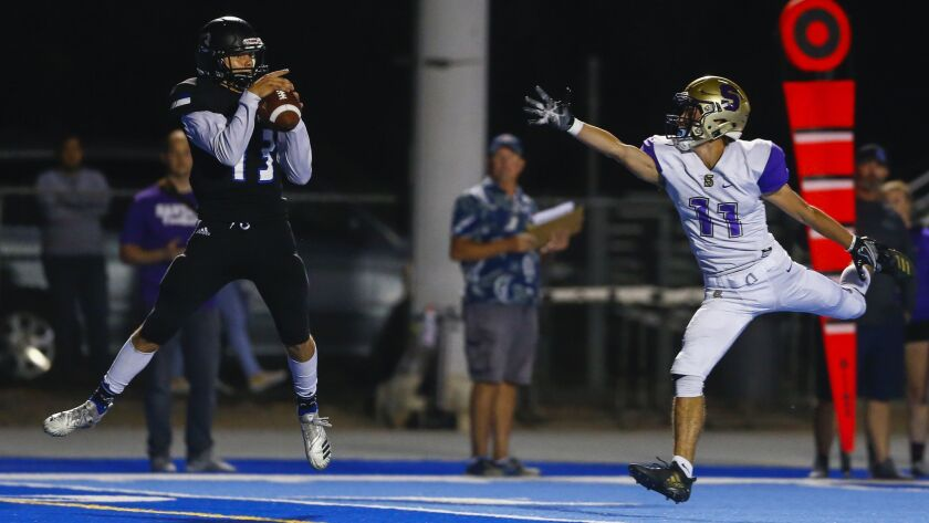 West Hills receiver Jack Browning hauls in a touchdown pass against Santana.