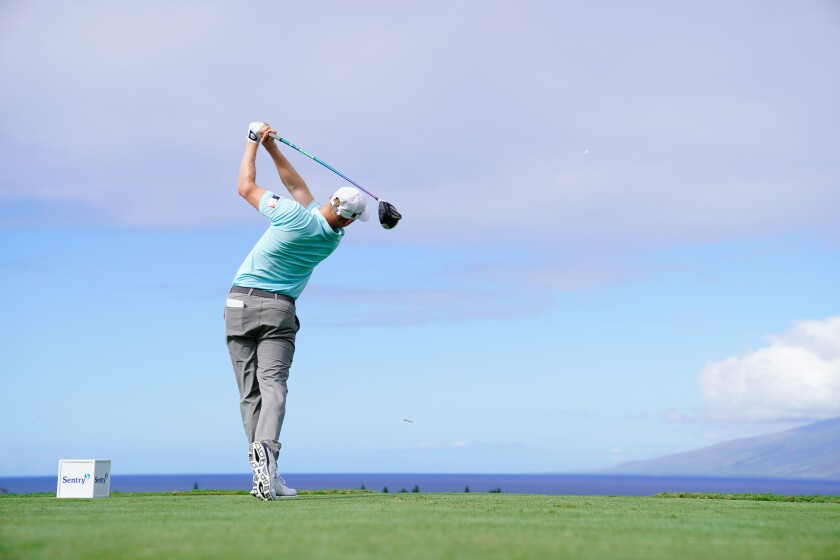 Adam Long plays his shot from the first tee during the first round of the Sentry Tournament Of Champions on Jan. 2 in Kapalua, Hawaii.