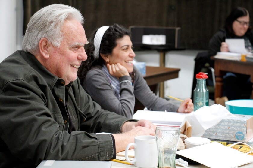 """Sam Woodhouse (left), """"Sweat"""" director and San Diego Rep co-founder and artistic chief, observes rehearsal with assistant director Maria Patrice Amon."""