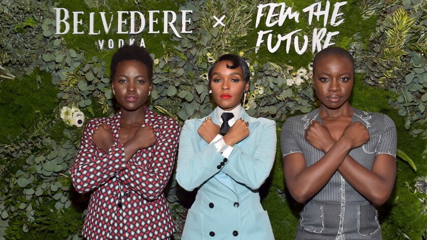 Lupita Nyong'o, left, Janelle Monáe and Danai Gurira attend the Fem the Future brunch at Catch LA in West Hollywood.