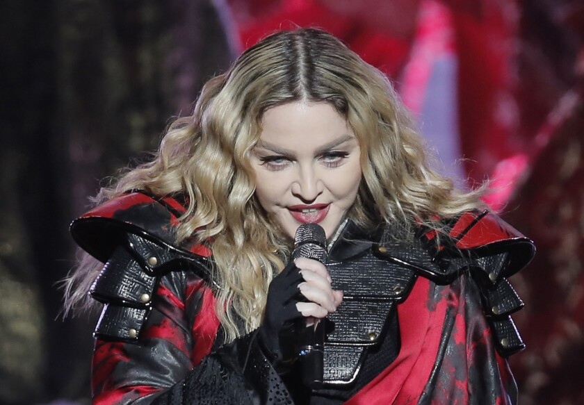 Madonna performs last month during the Macau stop of her Rebel Heart tour.