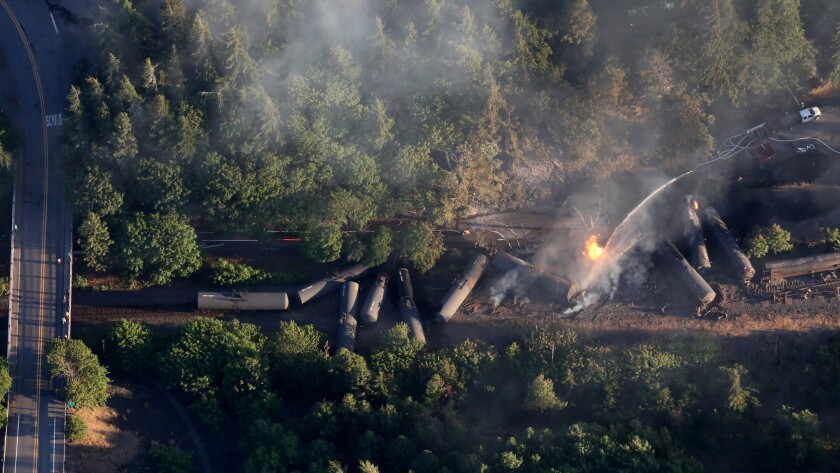 A train carrying oil derailed and caught fire near Mosier, Ore., in June.