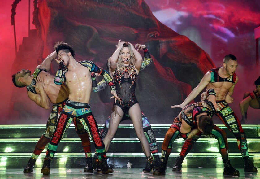 """Britney Spears performs in her residency show, """"Britney: Piece of Me,"""" at the Axis in the Planet Hollywood Resort in Las Vegas."""