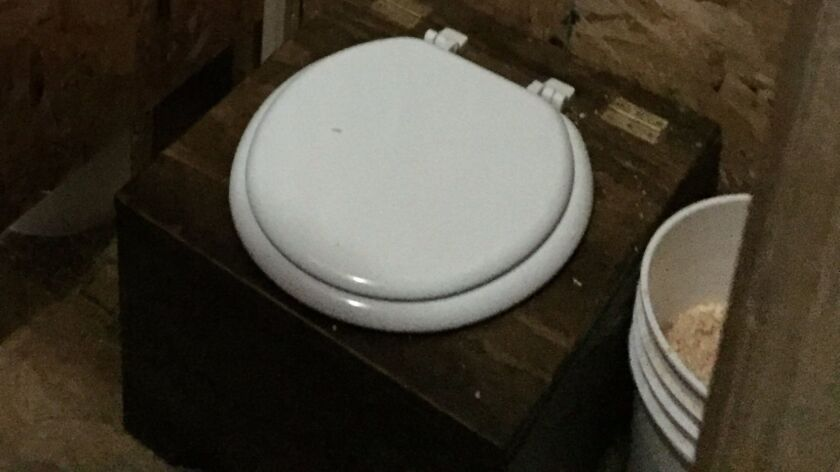 A composting toilet awaits use at the Standing Rock protest camp