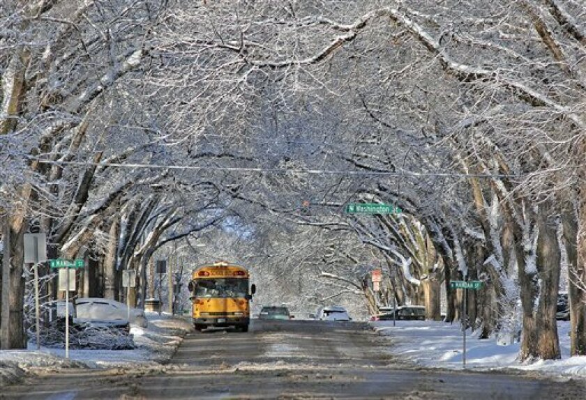 Snow-covered trees form a scenic canopy over Avenue C in Bismarck on Monday, March 4, 2013, in the wake of a slow moving winter storm that passed through the state leaving southern areas of North Dakota with rain that later turned to snow. Northern areas of the state received significant snowfall t