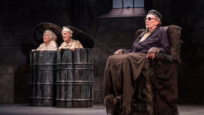"Alan Mandell, foreground, with Charlotte Ray and James Greene in Samuel Beckett's ""Endgame"" at the Kirk Douglas Theatre in Culver City."