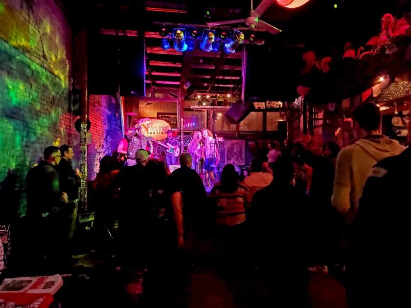 A band performing at the bar Flamingo Cantina.