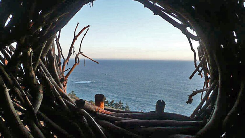 This is the view from the nest for humans at Treebones Resort on California's southern Big Sur coast. The perch sleeps two adults.