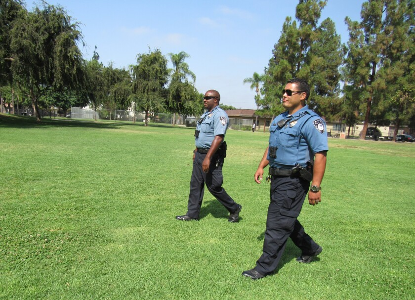 Maurice Hooper (left) and Christopher Betancourt are the two officers working as park rangers for the city of El Cajon and the Police department. Hired last year, the two are charged with keeping an eye on things in city parks as well as helping out at special events and for other public safety needs in El Cajon.