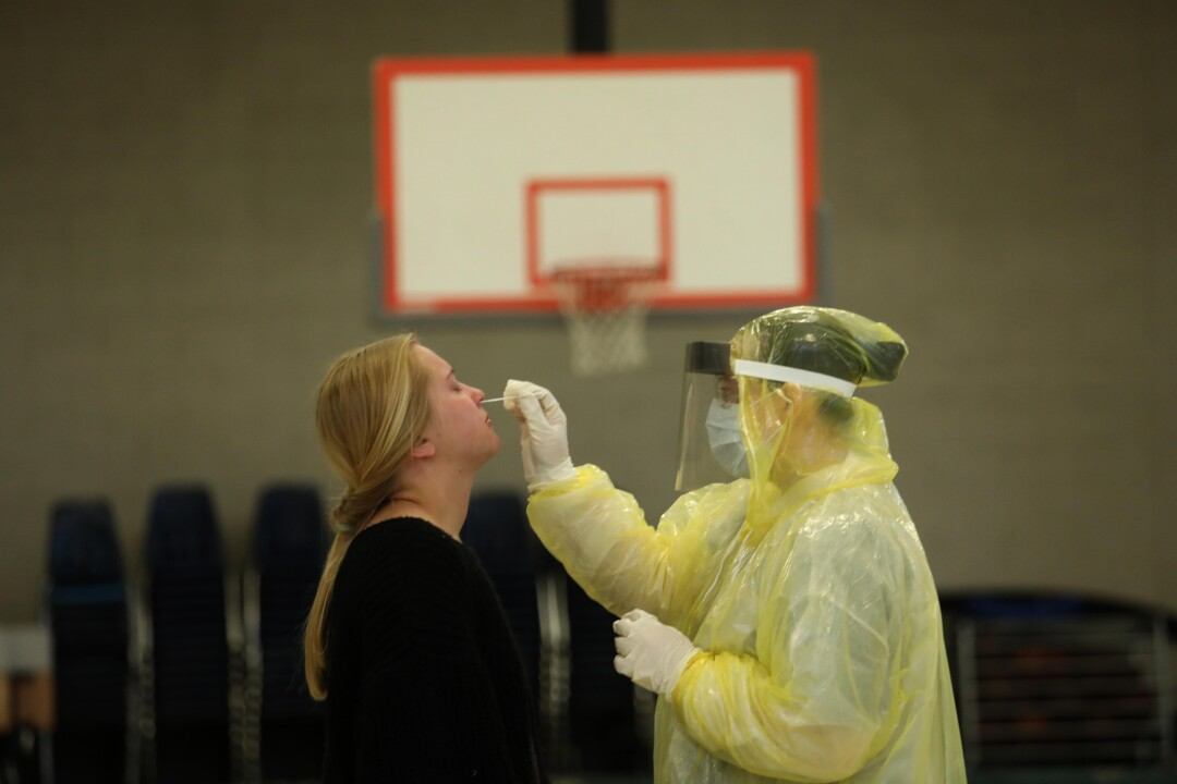 Coronavirus testing at a school gym in Mariposa, California