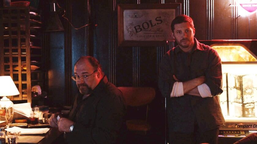 "James Gandolfini and Tom Hardy in ""The Drop,"" screenplay and novel by Dennis Lehane."