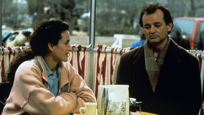"""Bill Murray and Andie MacDowell costar in the 1993 fantasy-comedy """"Groundhog Day."""""""