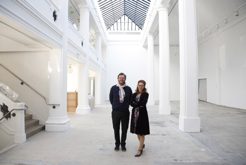 Co-founder Iwan Wirth and partner Manuela Wirth, stand in the Hauser Wirth & Schimmel gallery space in downtown Los Angeles.