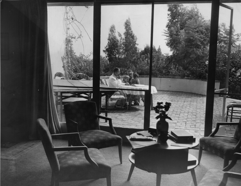 From the living room looking out to the patio of the Mann house in Pacific Palisades, 1941.