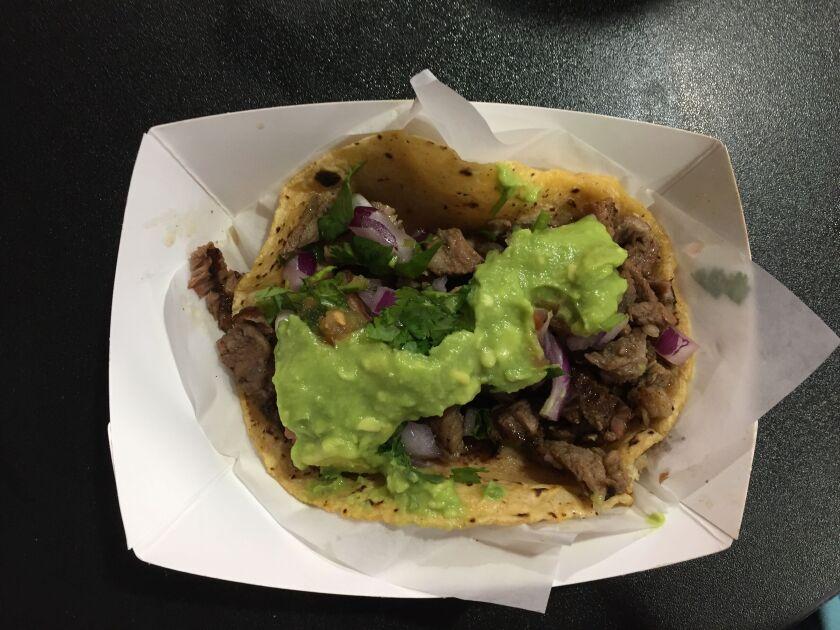 A carne asada taco at Tacos El Cabron in the Gaslamp Quarter.