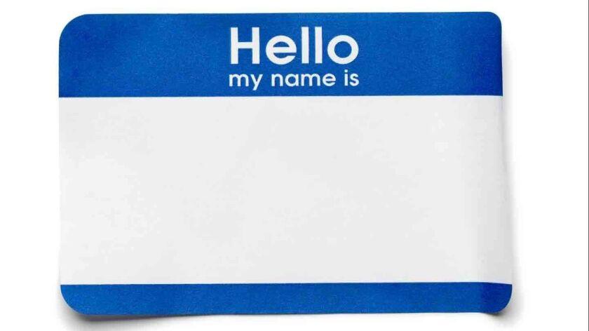 Blue Hello Name Tag on White