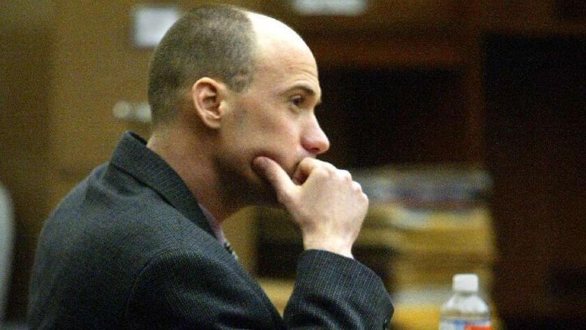 Trenton Veches, a former Newport Beach youth program supervisor, was charged with 25 felony counts of lewd acts with minors in 2003 and sentenced to two life terms. Shown here during his trial, Veches is now about to be paroled.