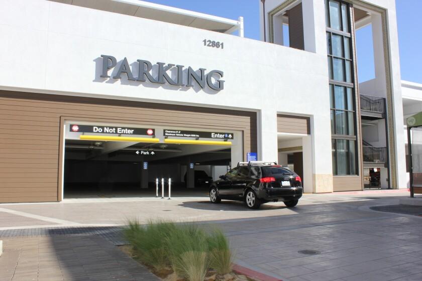 Del Mar Highlands parking garage.