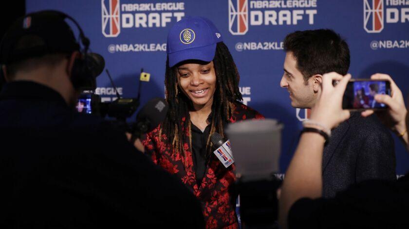 Chiquita Evans at the NBA 2K League draft Tuesday night.