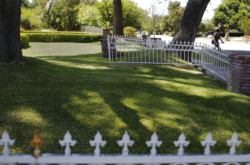A cyclist pedals past a lawn in Arcadia on Tuesday.