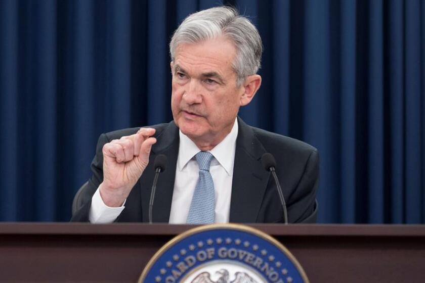 El presidente de la Reserva Federal, Jerome Powell, comparece en rueda de prensa. EFE/Archivo