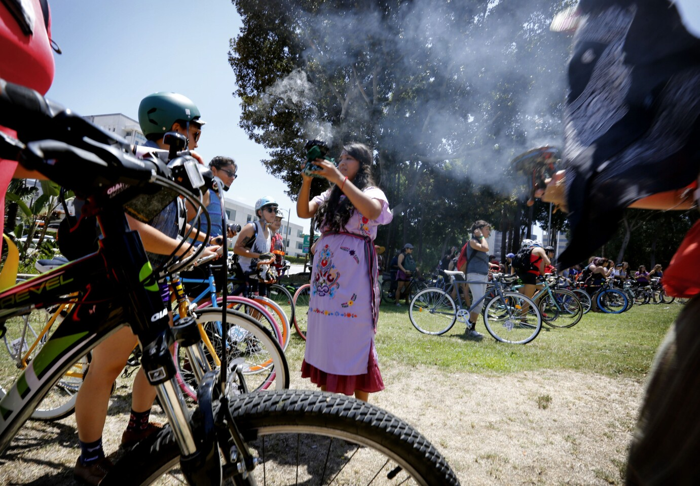 A blessing before the 30-mile ride begins. This was the third massive ride for the Ovarian Psycos Cycle Brigade, who are encouraging other women -- especially those who haven't been on a bike since they were in pigtails -- to pick up where their inner child left off.