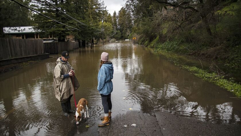FORESTVILLE, CA - February 27, 2019: Forestville residents are completely cutoff from the town of Gu