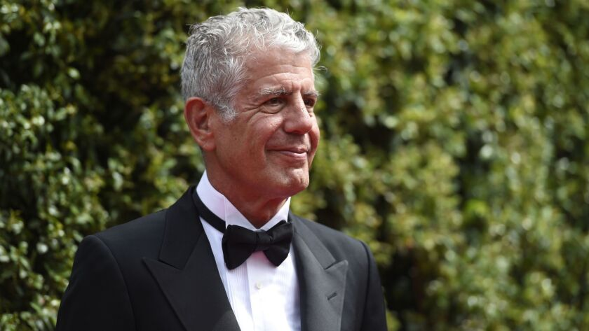 Anthony Bourdain arriving at the Creative Arts Emmy Awards in Los Angeles in 2015.