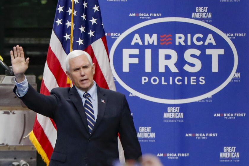 FILE - In this June 12, 2020, file photo Vice President Mike Pence, waves as he arrives to speak after a tour at Oberg Industries plant in Sarver, Pa. As the public face of the administration's coronavirus response. Vice President Mike Pence has been trying to convince Americans that the country is winning even as cases spike in large parts of the country. For public health experts, that sense of optimism is detached from reality. (AP Photo/Keith Srakocic, File)
