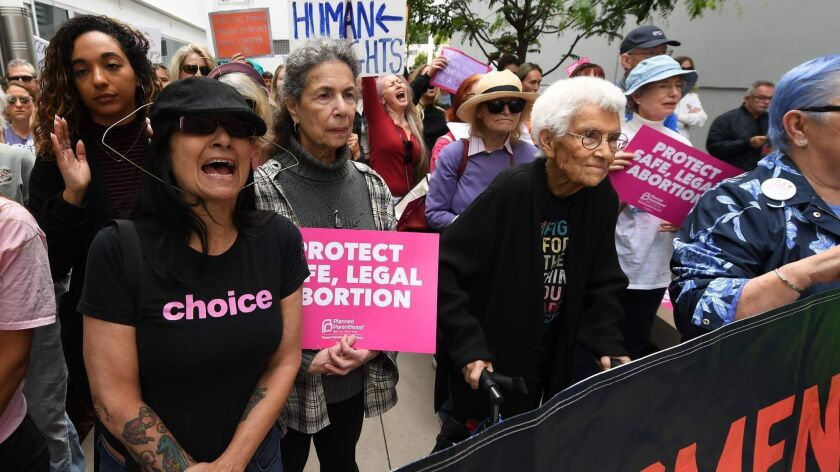 Abortion rights advocates rally in West Hollywood on Tuesday.