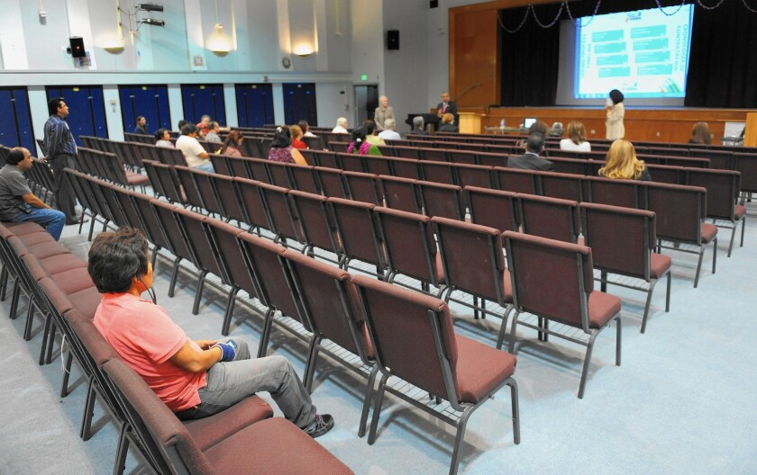 Most of the chairs are empty at a community meeting at Monroe High School last month for parents and teachers to give input on the search for a new schools superintendent.