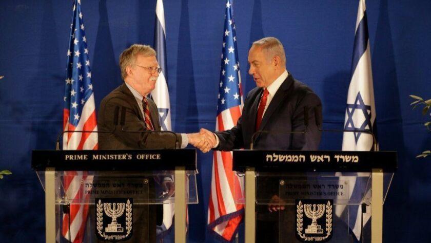 U.S. national security advisor John Bolton, left, with Israeli Prime Minister Benjamin Netanyahu after their meeting in Jerusalem on Jan. 6, 2019.