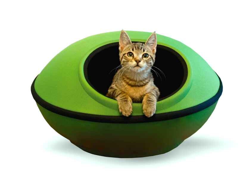 K&H Pet Products' Mod Dream pod, $69.99, zips together to provide a Jetsons-esque sleeping chamber for cats and small dogs. From www.khpet.com.