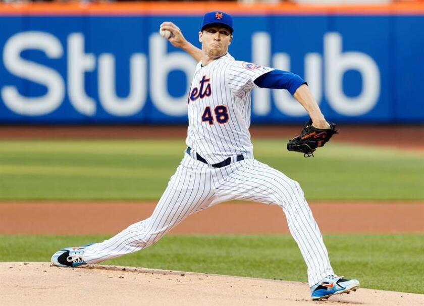 En la imagen, el lanzador estelar de los Mets de Nueva York, Jacob deGrom. EFE/Archivo
