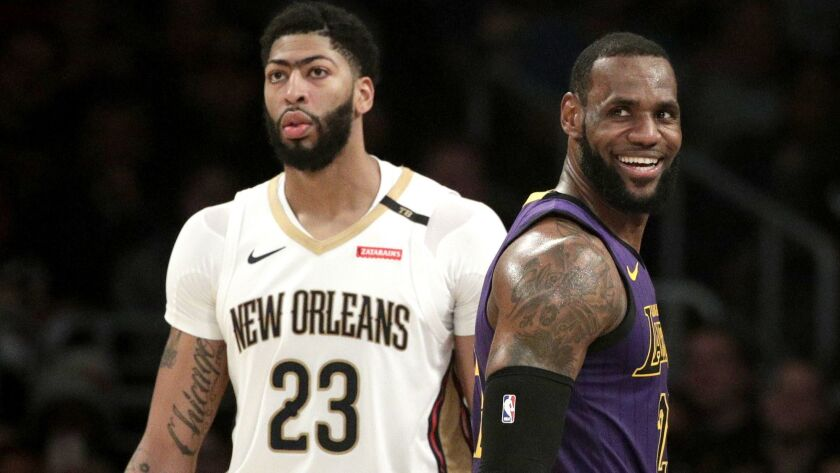 Anthony Davis (23) and LeBron James are linked together by more than their All-Star pedigrees -- they have the same agent, Rich Paul.