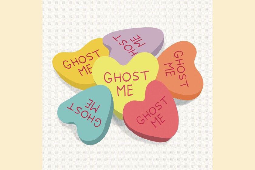 "Illustration of hearts that read, ""Ghost me"""