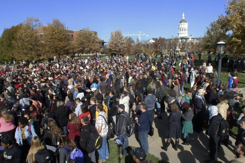 Protesters gather at Mel Carnahan Quadrangle at the University of Missouri on Monday.