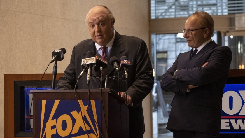 """Russell Crowe, left, as Roger Ailes and Simon McBurney as Rupert Murdoch in """"The Loudest Voice."""""""