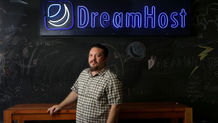 Michael Rodriguez, co-chief executive of DreamHost, at his office in Los Angeles.