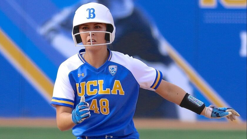 UCLA center fielder Bubba Nickles runs the bases during a UCLA softball game.