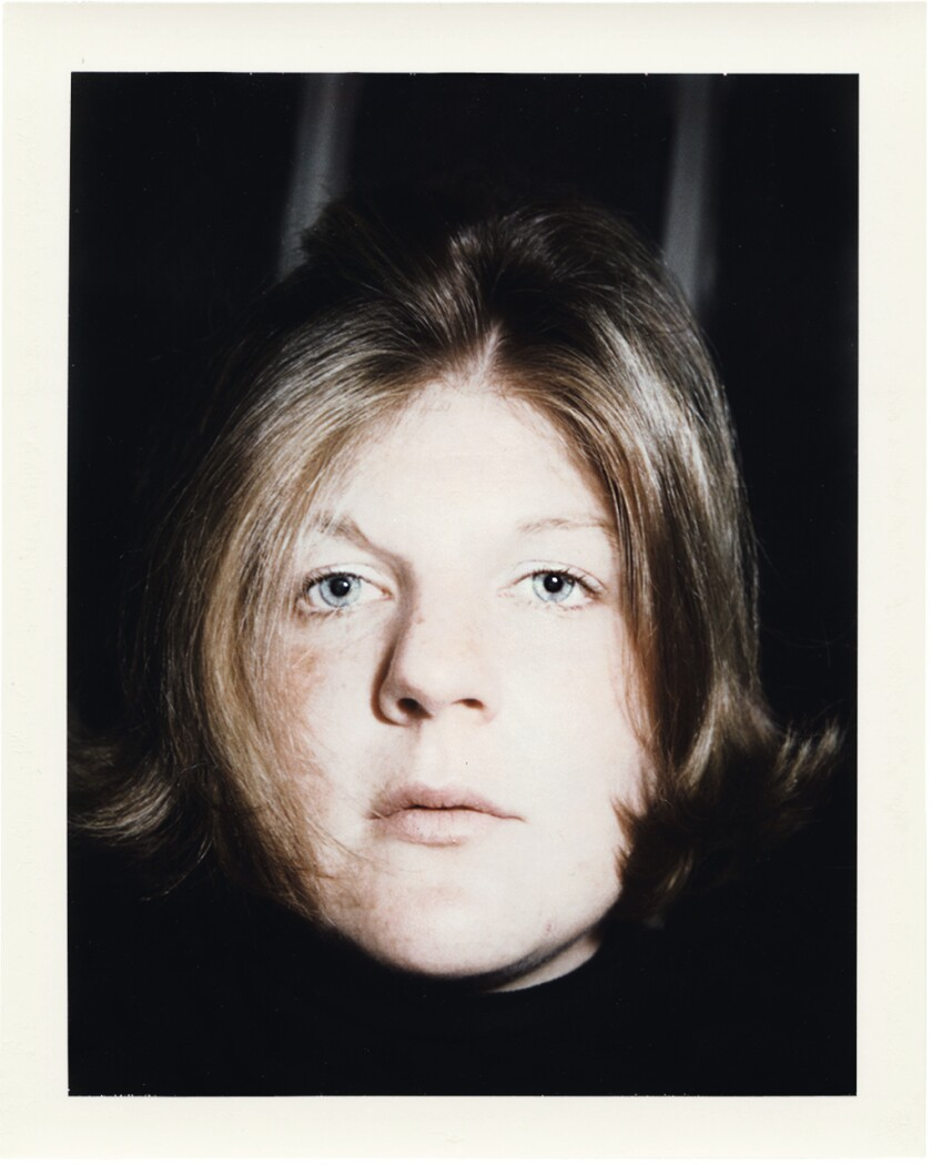 Brigid Berlin looks contemplative in a Polaroid self-portrait.