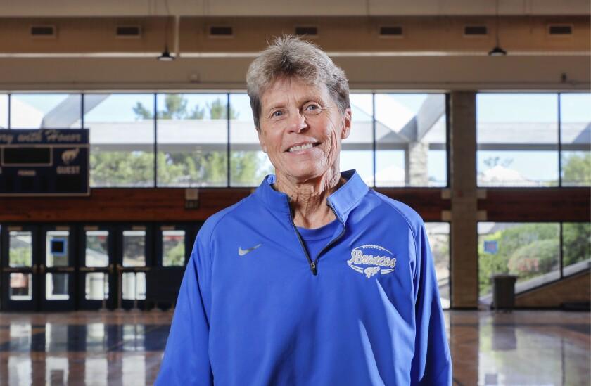 Portrait of retiring Rancho Bernardo High School Athletic Director Peggy Brose